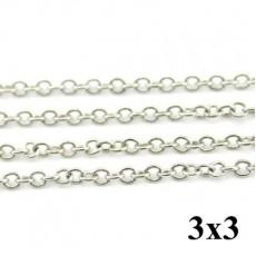 Цепочка 3х3 Серебрянная #4206