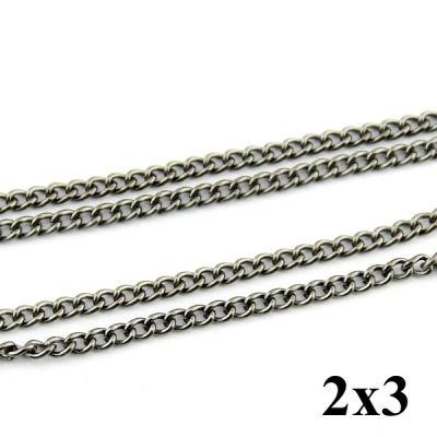 Цепочка 2х3 Тёмно-серебрянная #4207