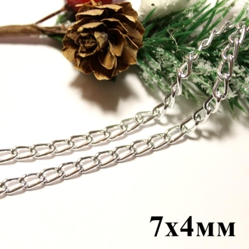 Цепочка 7х4 Серебрянная #5795