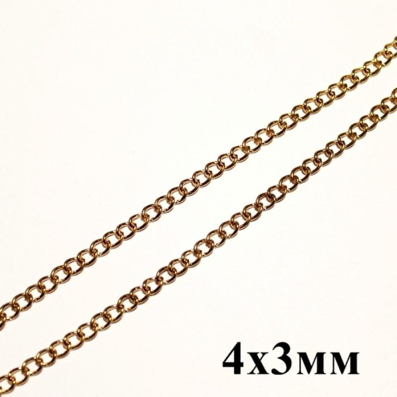 Цепочка 4х3 Золотая 1м #5797