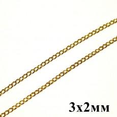 Цепочка 3х2 Золотая 1м #5798