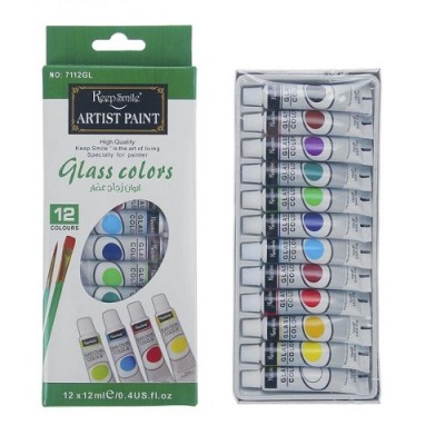 Краски по стеклу 12цв в пластик тубе 12мл #10200
