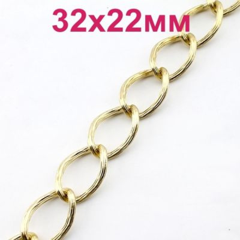 Цепь 32х22х3 мм Золотая #2594