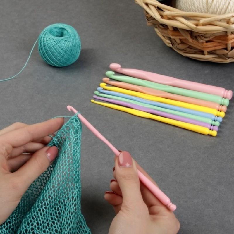 Набор крючков для вязания, d=2,8-10мм, 15см, 9шт #11491