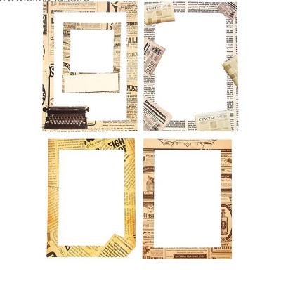 Набор декоративных рамок из картона Газета 5 шт #10038