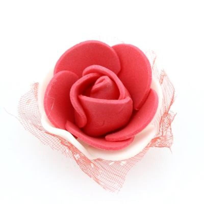 Цветы D=35 в сетке Бело-красные #4695