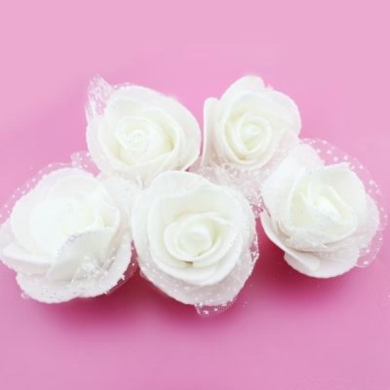 Цветы D=50 в сетке Белые с блёстками #4692