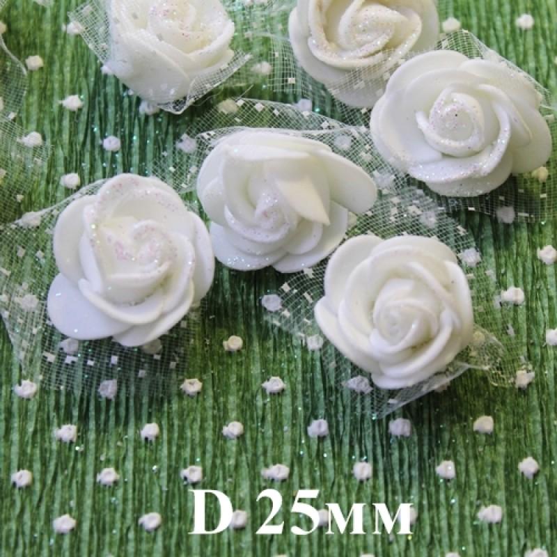 Цветы D=25 в сетке Белые с блёстками #5511