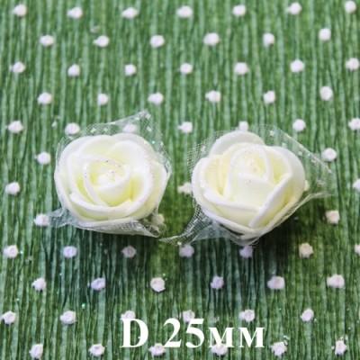 Цветы D=25 в сетке Кремовые с блёстками #5512