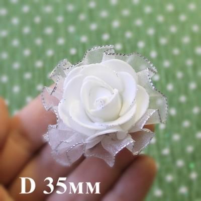 Цветы D=35 с фатой Белые #5514