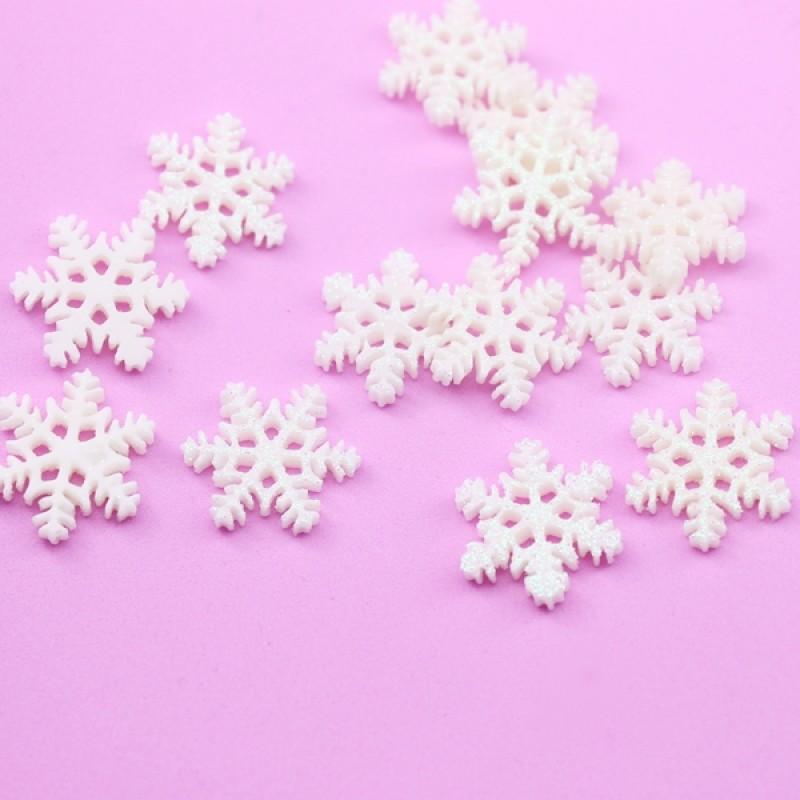 Кабошон Снежинка D=20мм с напылением #5423