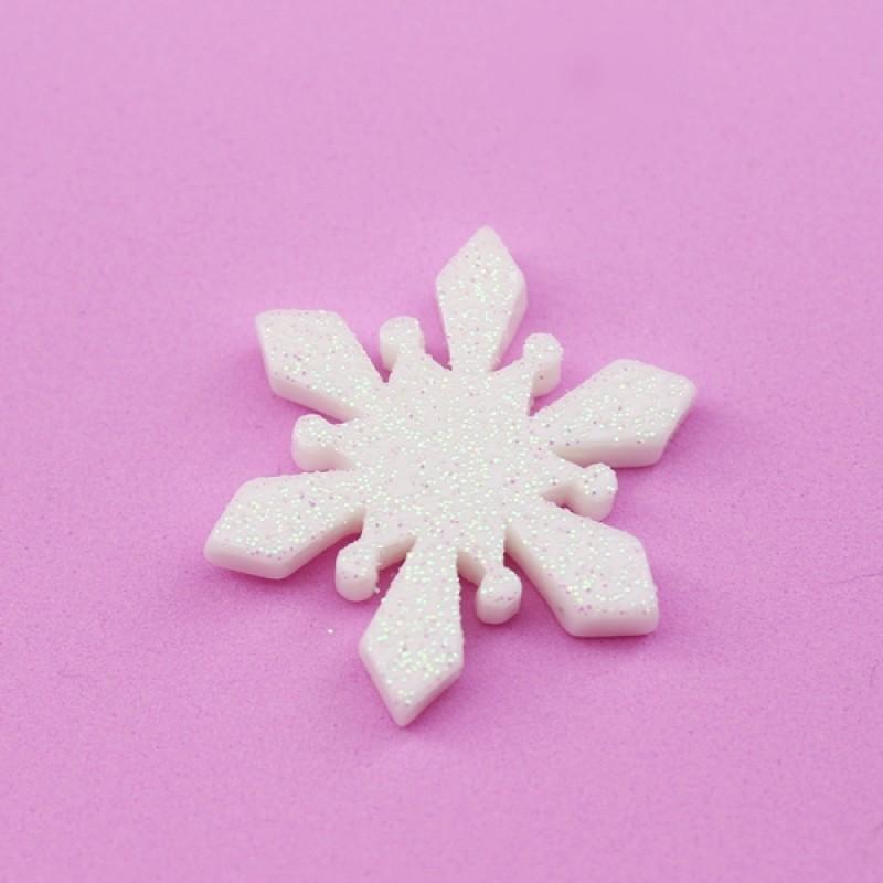 Кабошон Снежинка D=30мм с напылением #5505