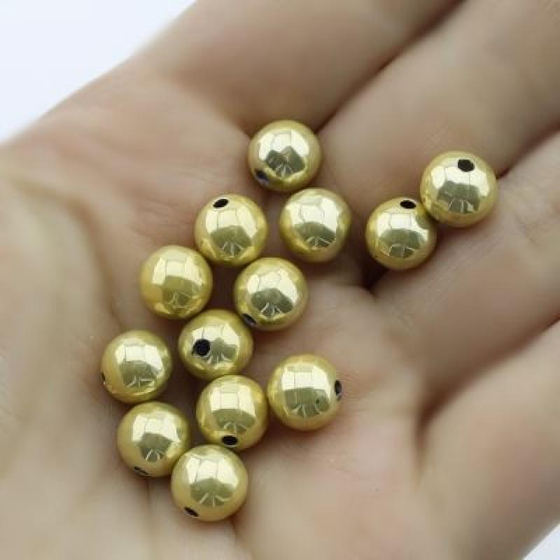 Мет. бусины D=8 мм Золото 1 гр (3 шт) #1719