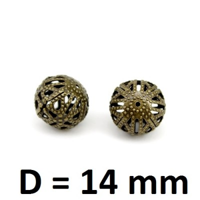 Полые бусины D=14 мм Бронза, 1шт #2508