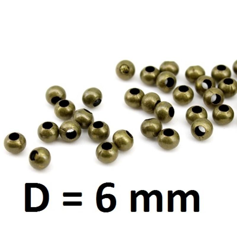 Бусины D=6мм Бронза, 1гр (4шт) #2752