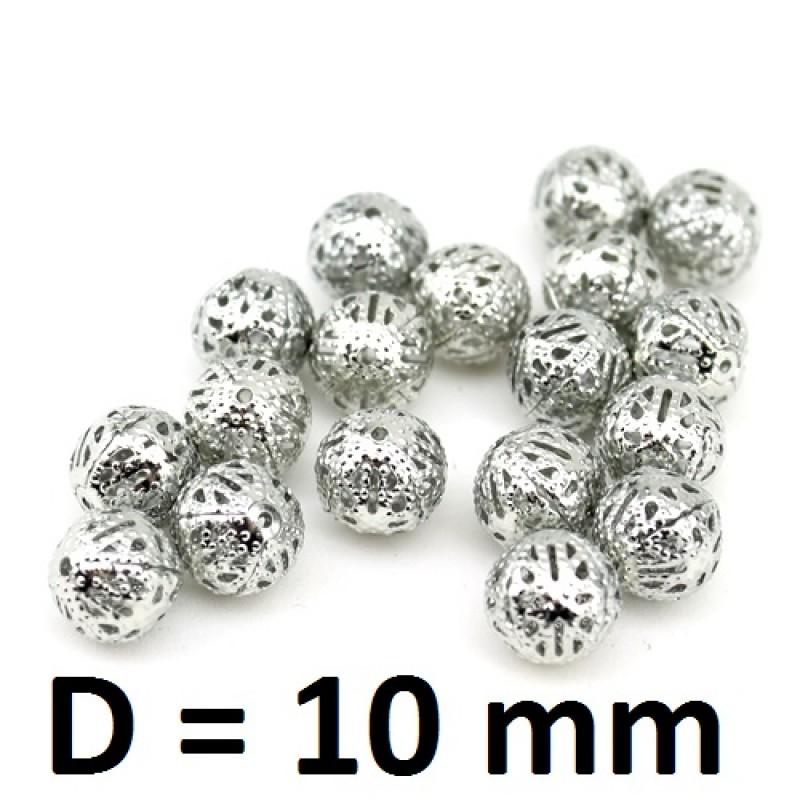 Полые бусины D=10мм Серебрянные, 1шт #2791