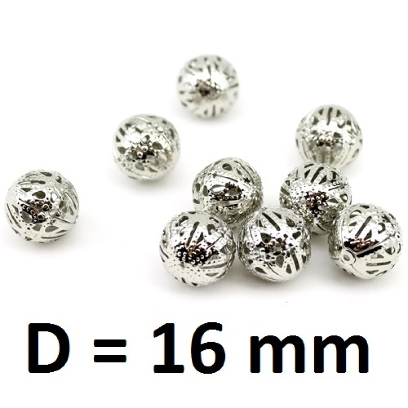Полые бусины D=16мм Серебрянные, 1шт #2805