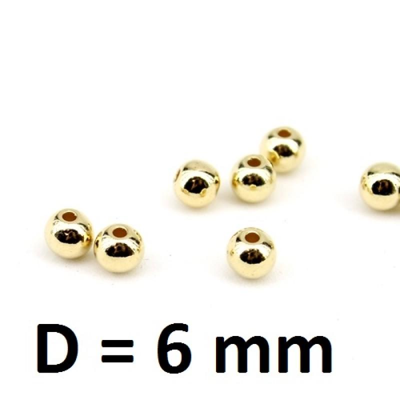 Бусины пластиковые D=6 мм Золото, 1 гр (7шт) #2806
