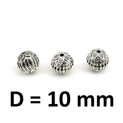 Бусины Серебро D=10, 1шт #2995