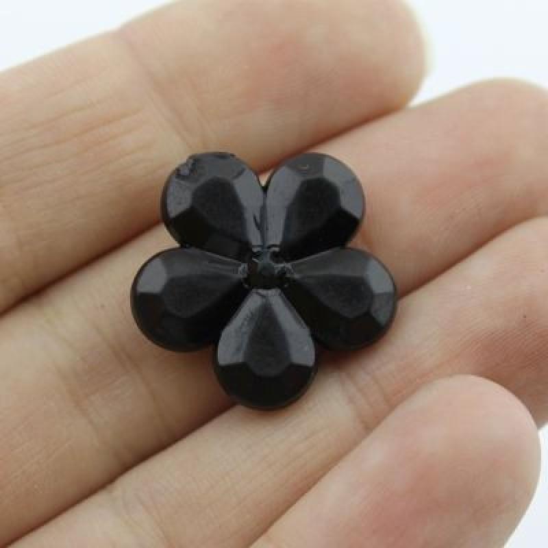 Бусины Цветок черный 20х5 мм 1 шт #1779