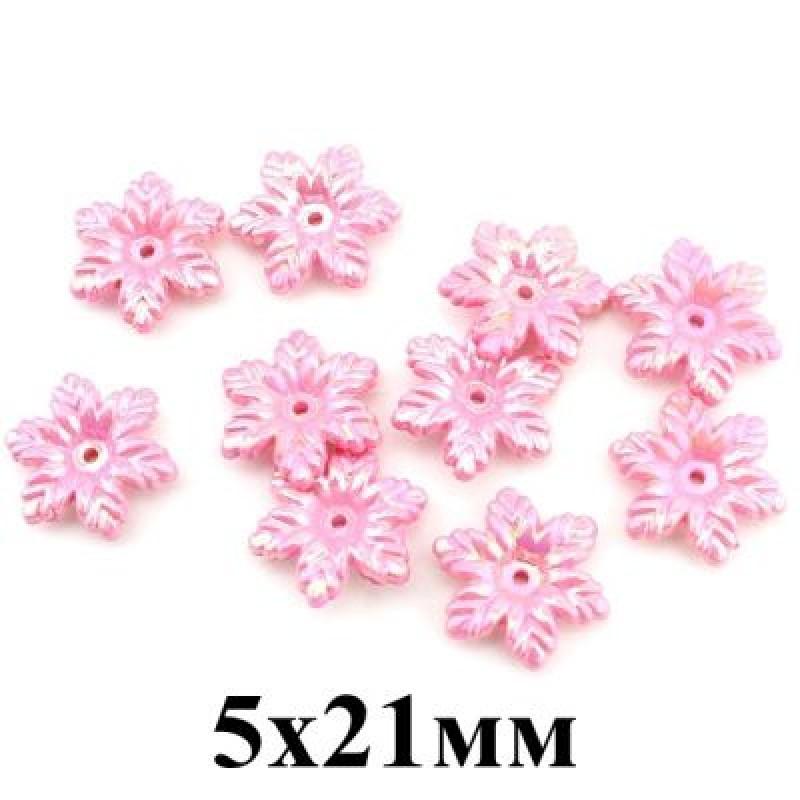 Бусины Цветочки Розовые 5х21, 1шт #4294