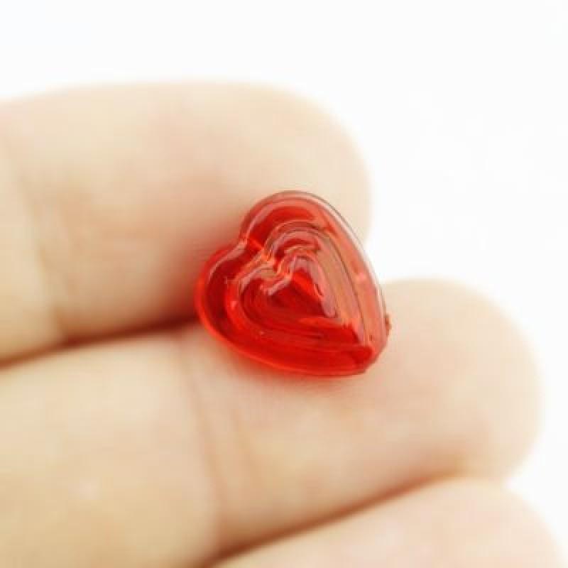 Бусины Сердечко Красные 12х8, 1шт #4306