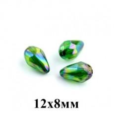 Бусины Капля с огранкой с блеском 12х8, 1шт Зелёные #5692