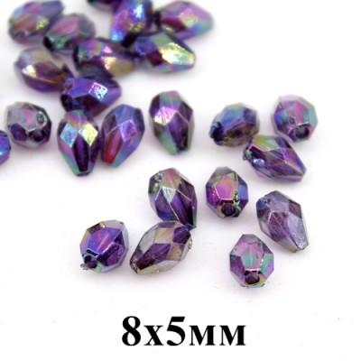 Бусины с блеском 8х5, 1гр (10шт) фиолетовые #3786