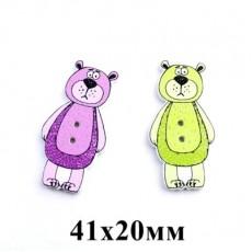 Пуговица Медведь 41х20 #5377