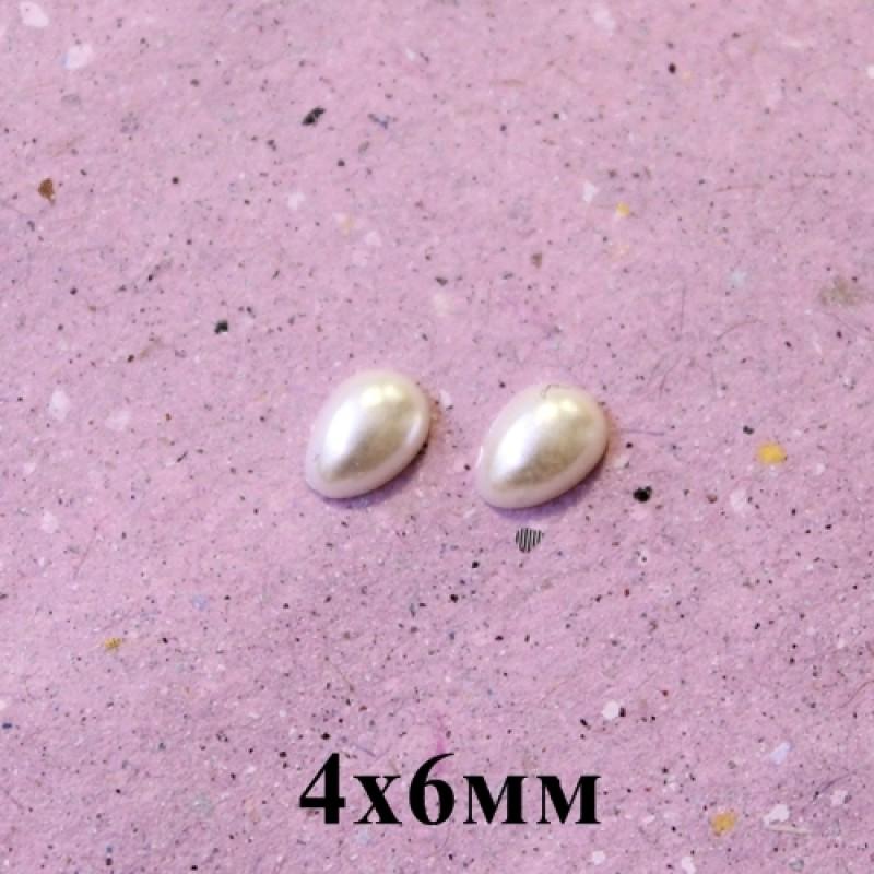 Полубусины Капля 4х6, 1гр (33шт) Кремовые #5484