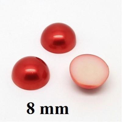 Полубусины D=8мм, 1гр (8шт) Красные #5887