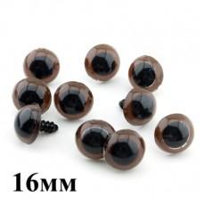 Глаза для кукол 16 мм 2 шт Коричневые #4752
