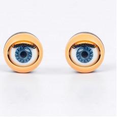 Глаза моргающие с ресничками синие D=17  2шт #10286