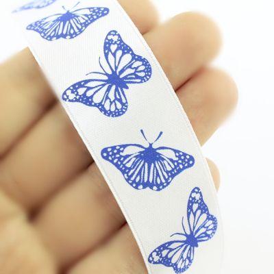 Лента атласная с бабочками 25мм, 1метр #4838