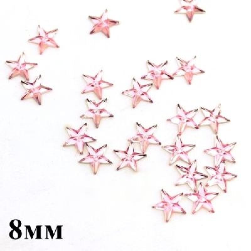 Стразы Звёзды розовые 8мм, 1шт #3034