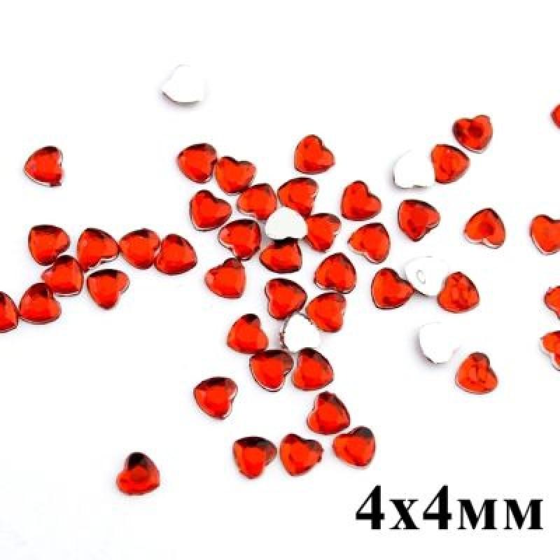 Стразы Сердечко 4х4 мм красные 1гр (75 шт) #3021