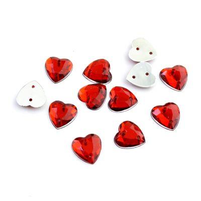 Стразы пришивные сердечки 12мм, 1шт #3031