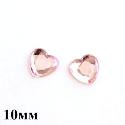 Стразы Сердечки розовое 10мм, 1шт #3037