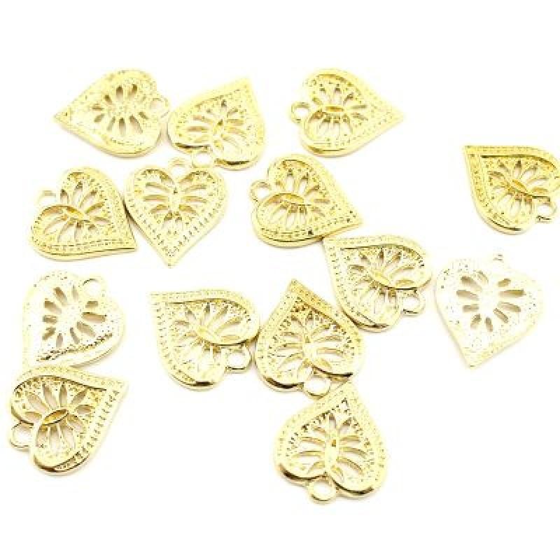 Подвеска Ажурное золотое сердце #3685