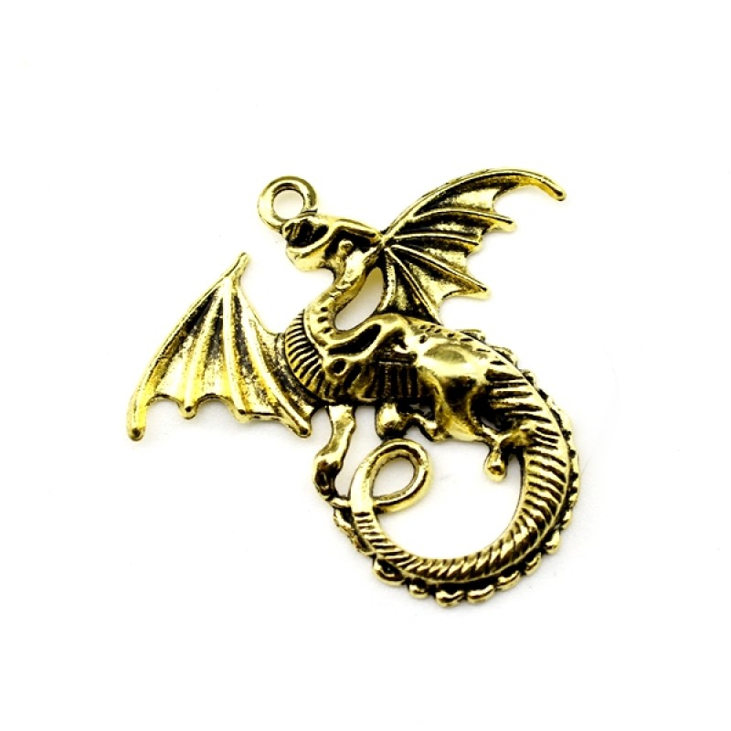 Подвеска дракон 43х46 Золото #5092