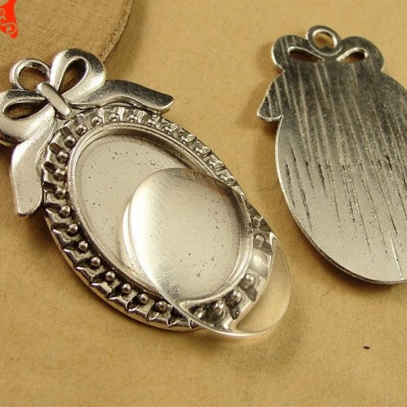 Основа для кулона с бантиком 25х18 Серебро #5070