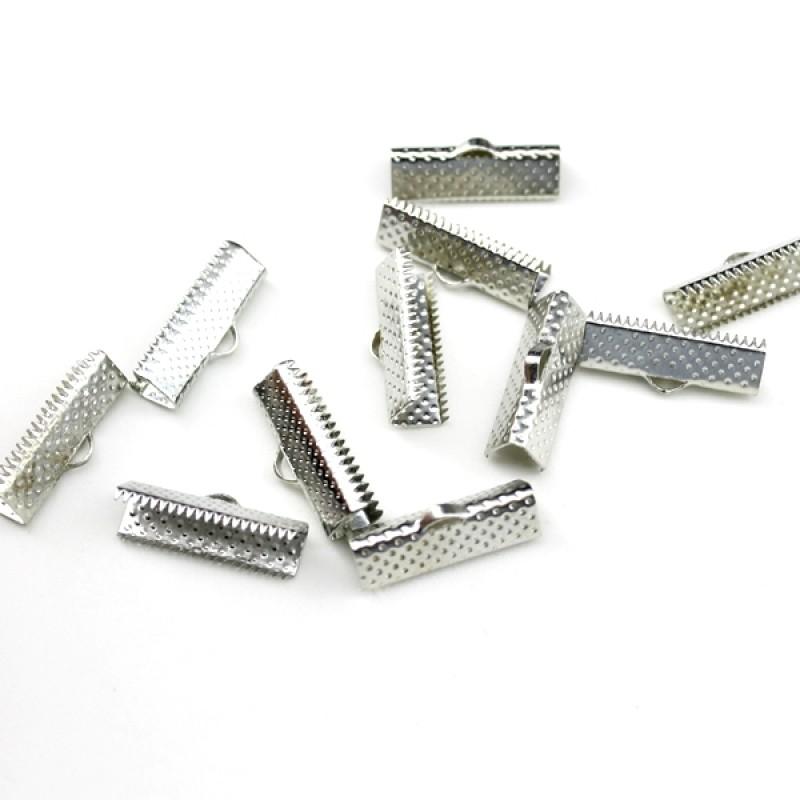 Зажимы для лент 20 мм Серебро #3729