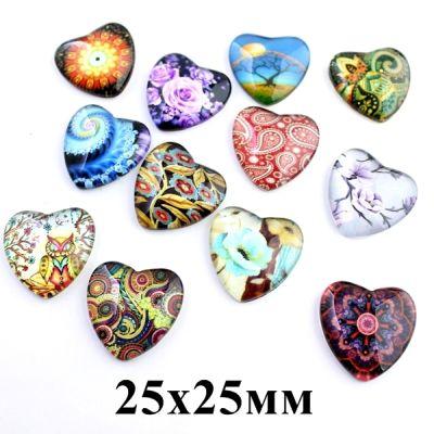 Кабошон Сердце МИКС 25х25 #5446