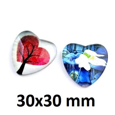 Кабошон Сердце МИКС 30х30 #1537