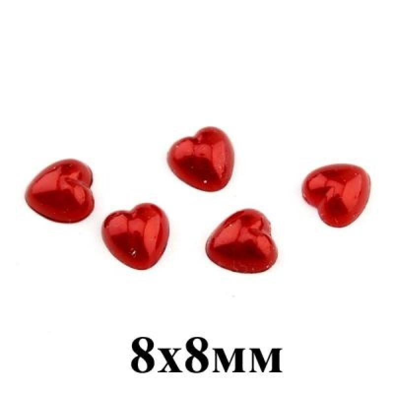 Полубусины Сердце Красные 8х8, 1гр (8шт) #4280