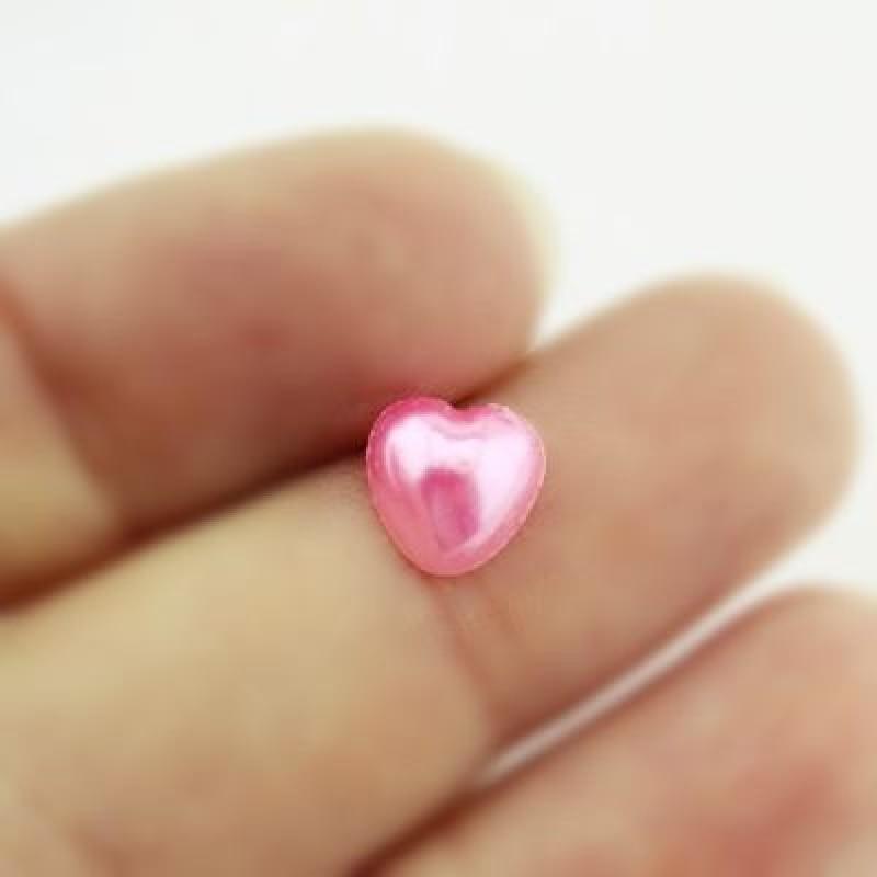 Полубусины Сердце Розовые 8х8, 1гр (8шт) #4277