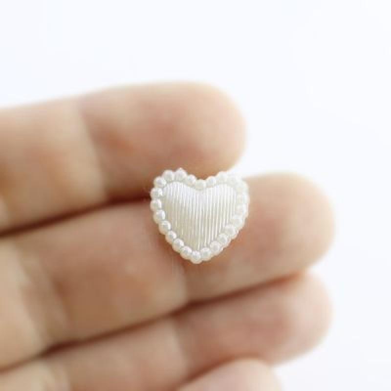 Сердце 13х14, 1шт Кремовое #5487