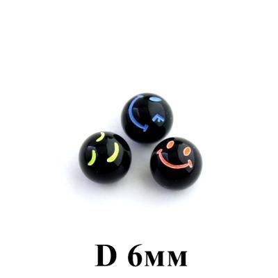 Колпочки со смайликом D=6, 1шт Черные #5678