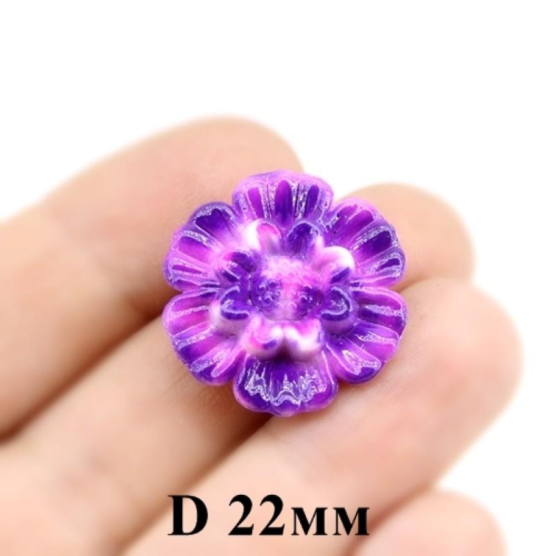 Бусины пришивные цветок D=22мм МИКС, 1шт #3865