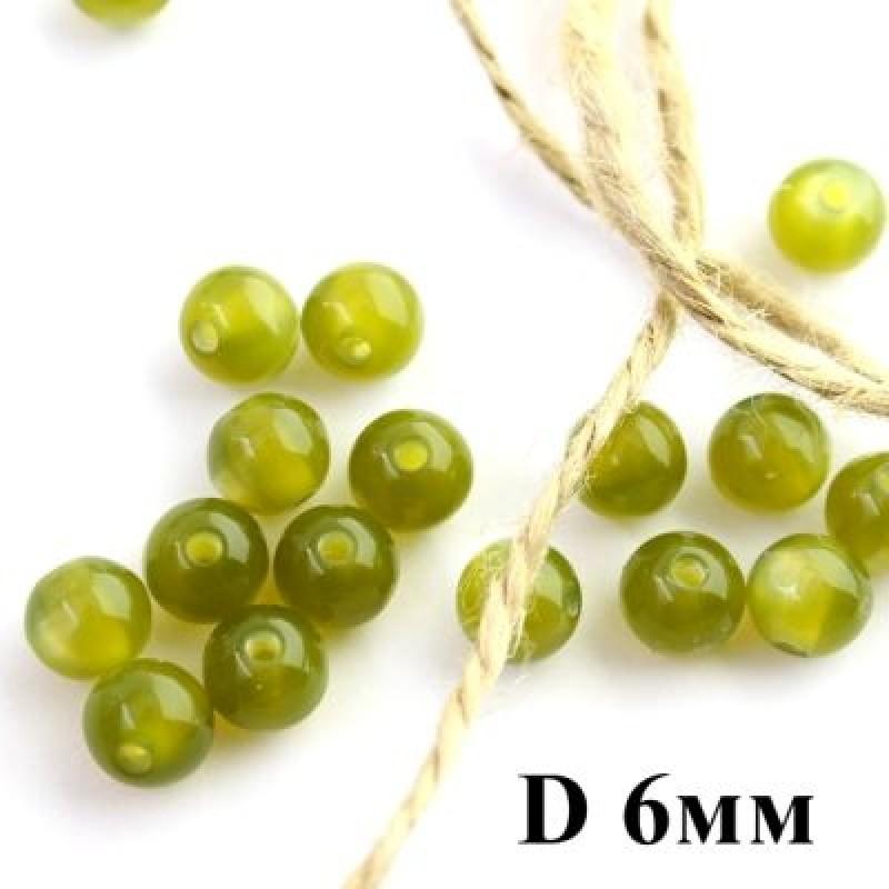 Бусины ДеЛюкс с переливом D=6 Темно-Оливковый 1шт #5651